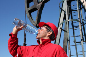 Thirsty Oil Industry Worker