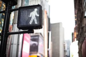 Crosswalk ok sign on a Manhattan Traffic Light - New